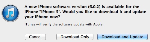 iOS 6.0.2 iTunes update