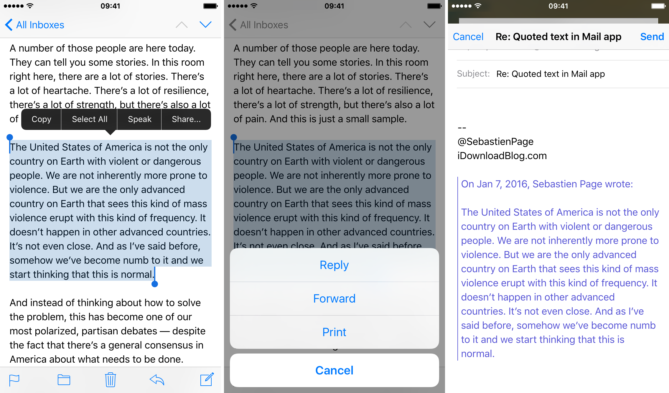 reply selected text Mail app