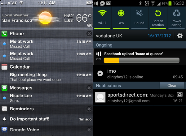 s3 iphone notification centers