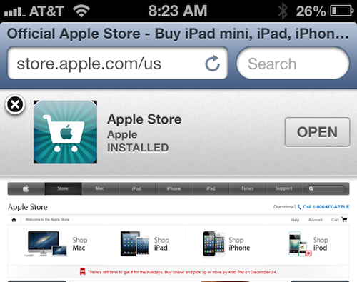JavaScript bug found in iOS 6's Smart App Banners