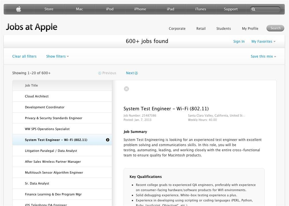 Apple job (Wi-Fi System Test Engineer)