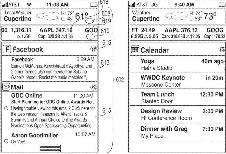 Apple patent (iOS Notification Center, drawing 002)