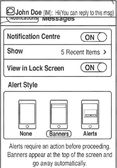 Apple patent (iOS Notification Center, drawing 004)