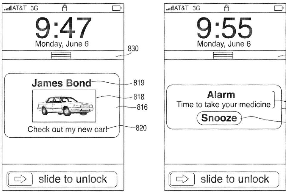 Apple patent (iOS Notification Center, drawing 006)