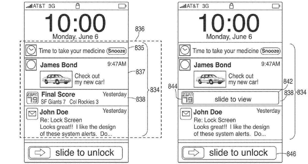 Apple patent (iOS Notification Center, drawing 007)