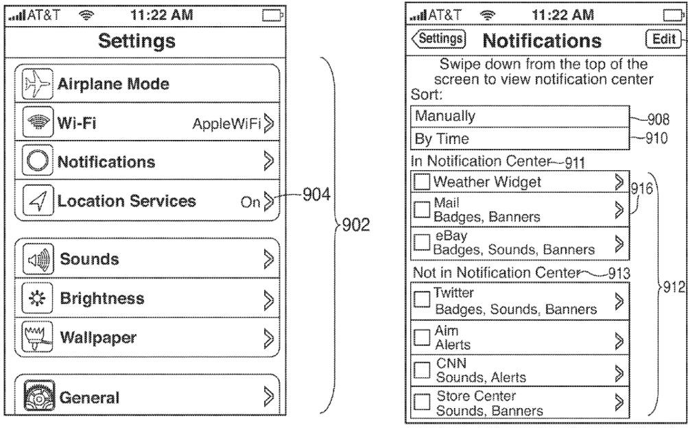 Apple patent (iOS Notification Center, drawing 008)