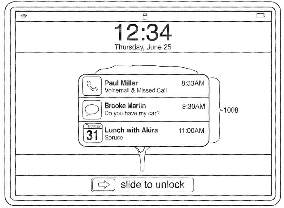Apple patent (iOS Notification Center, drawing 012)