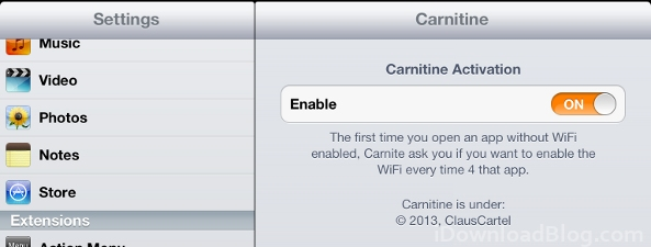 Carnitine Settings