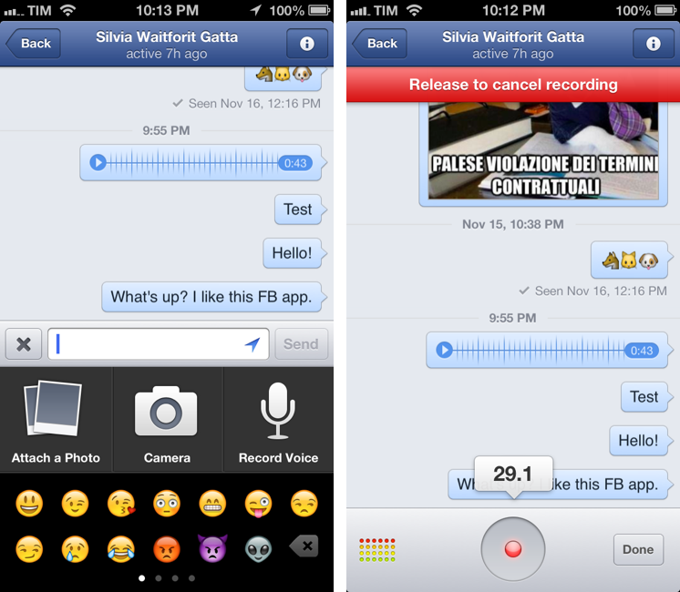 Facebook 5.4 for iOS (audio recordings, iPhone screenshot)