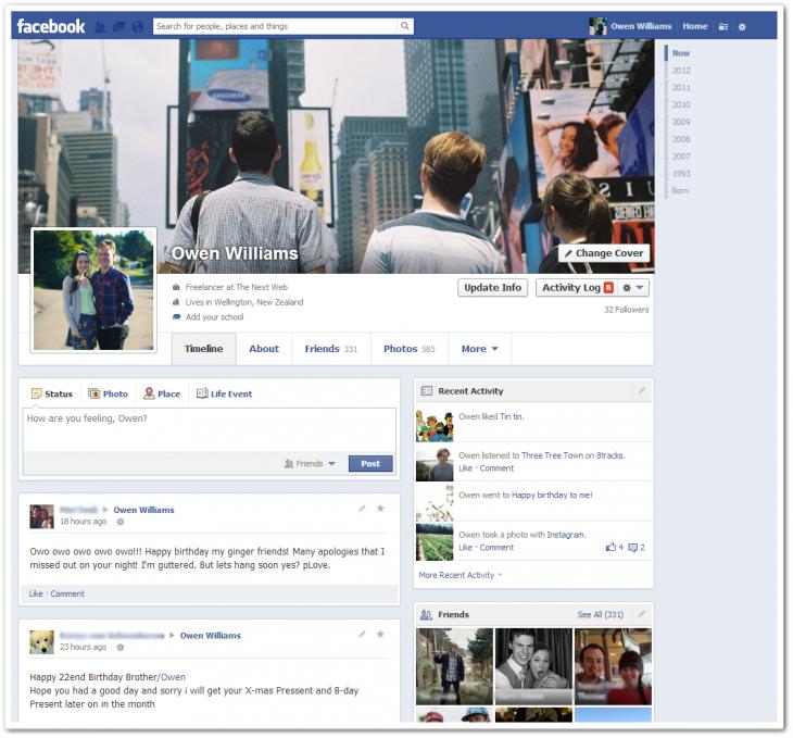 Facebook single column Timeline
