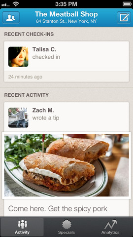 Foursquare for Business 1.0 for iOS (iPhone screenshot 001)