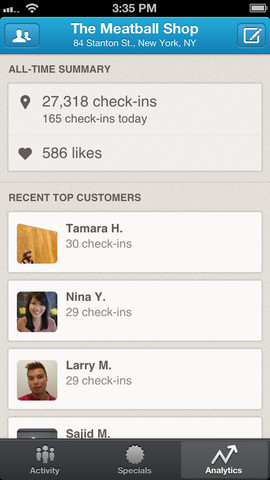 Foursquare for Business 1.0 for iOS (iPhone screenshot 002)