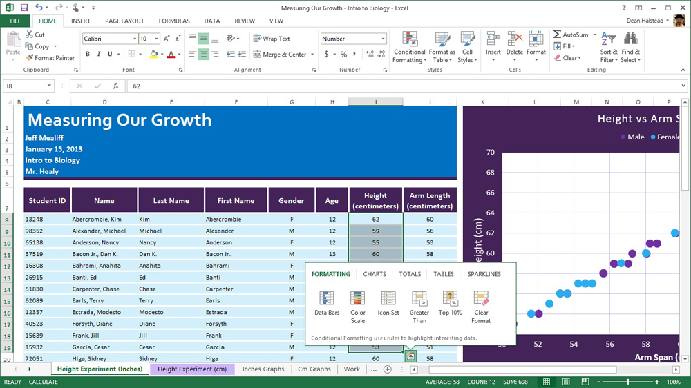 Office 365 Home Premium (Excel quick analysis lens)