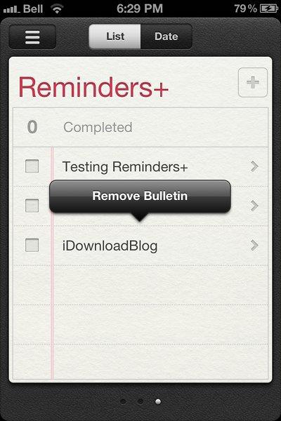 Reminders+ remove bulletin