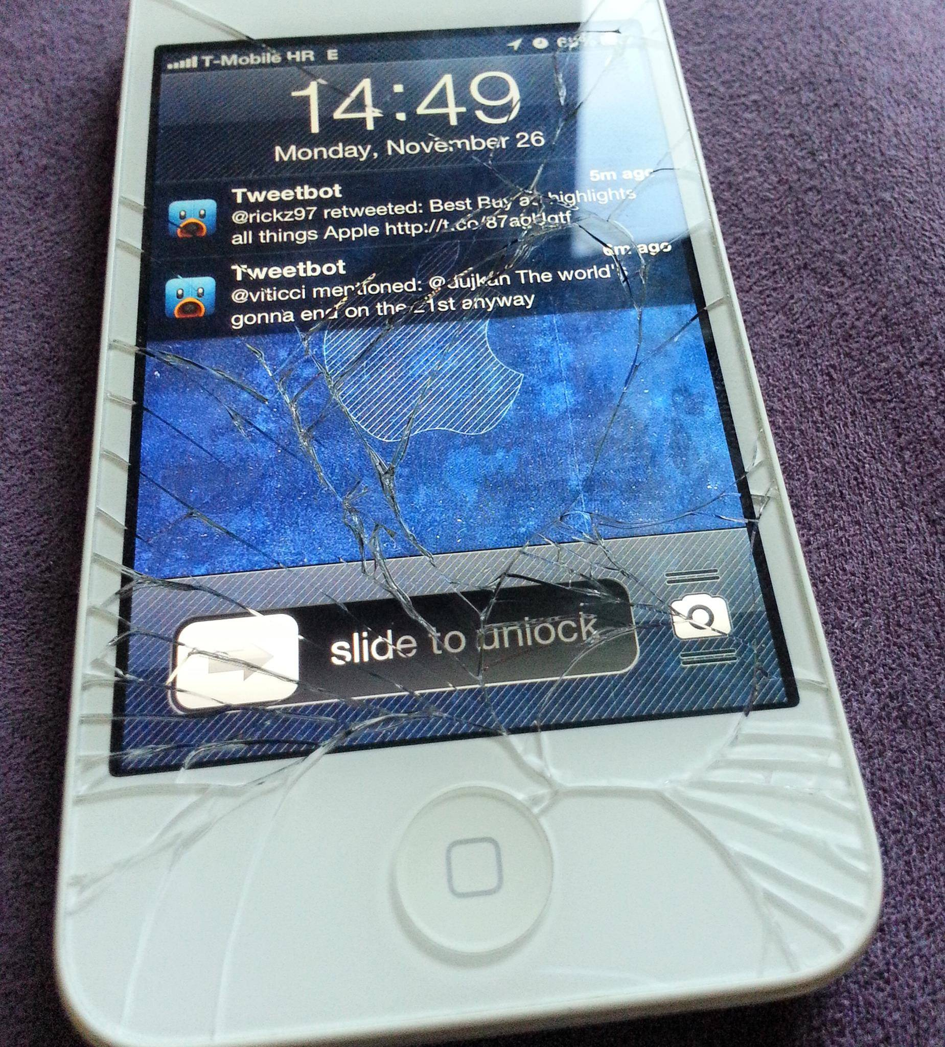 Smashed iPhone 4S white