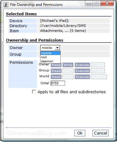file ownership permissions SMS