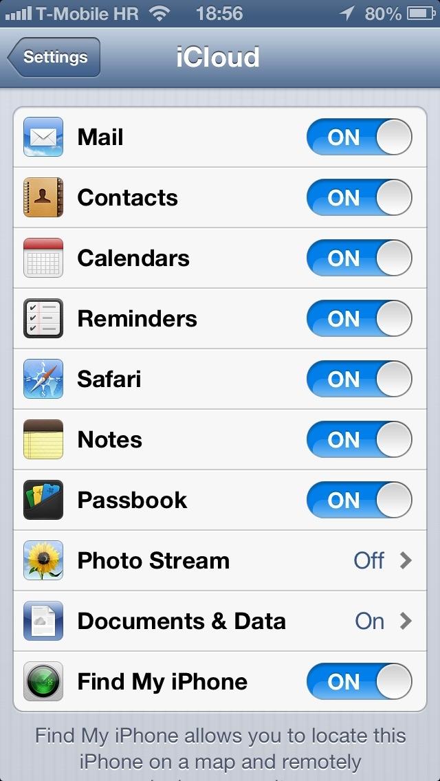 iOS 6 (Settings, iCloud, Photo Stream 001)