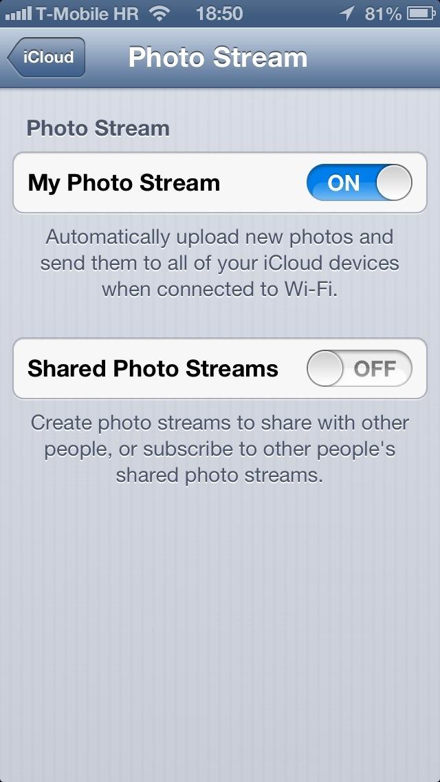 iOS 6 (Settings, iCloud, Photo Stream 002)