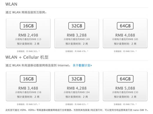 iPad mini backlog in China