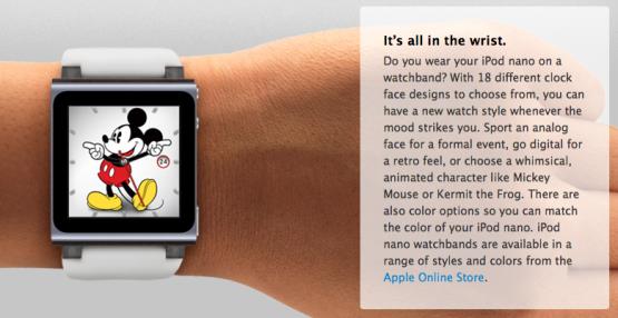 iPod nano Mickey Mouse clock face