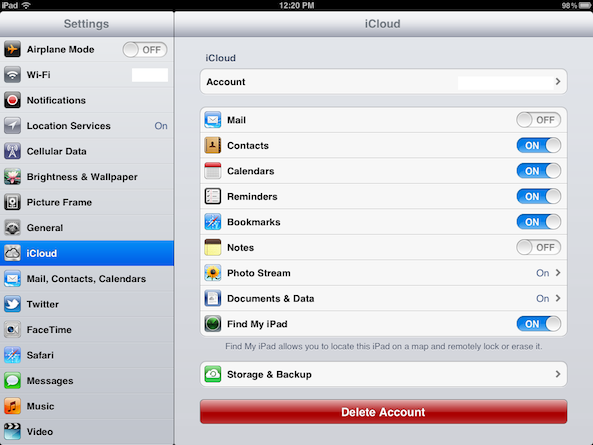 ipad icloud settings