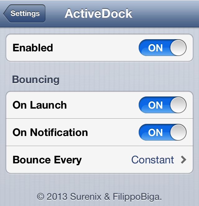 ActiveDock Settings