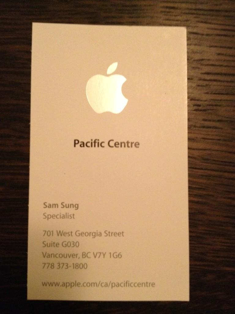 Apple specialist Sam Sung (business card)