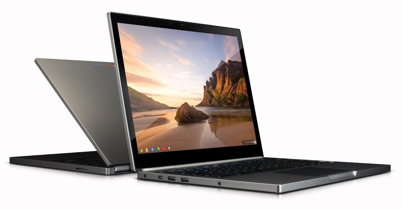 Chromebook Pixel (two up, open lid, black)