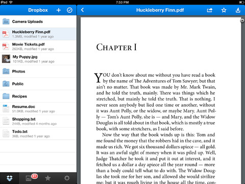 Dropbox 2.1 for iOS (iPad screenshot 001)