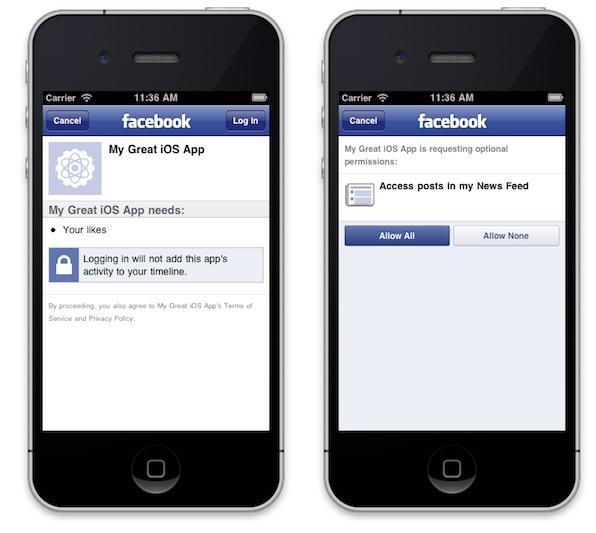 Facebook iOS SDK (app example 001)