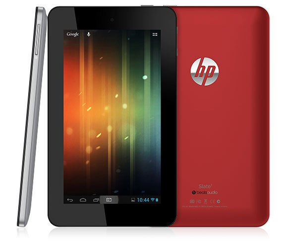 HP Slate 7 (three up, front, back, profile, red, black)