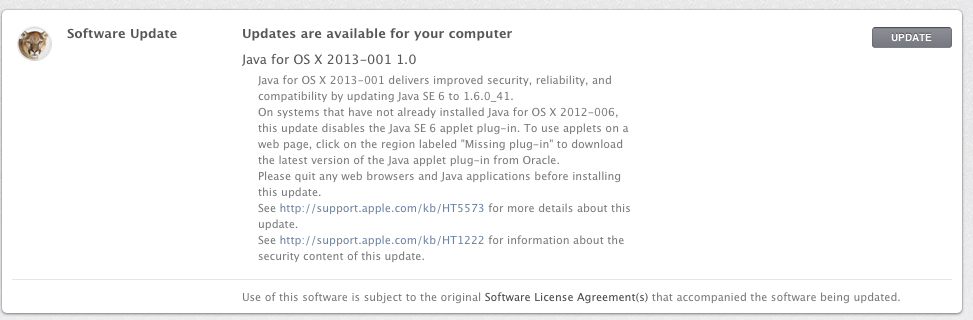 Java for OS X 2013-001 1.0 update prompt