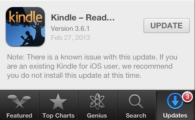 Kindle 3.6.1 warning