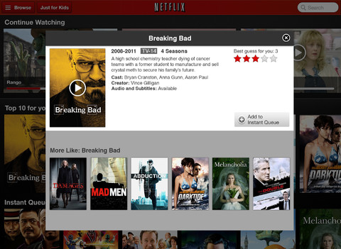 Netflix 3.0 for iOS (iPad screenshot 002)