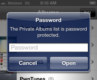 PhotoAlbums+ password