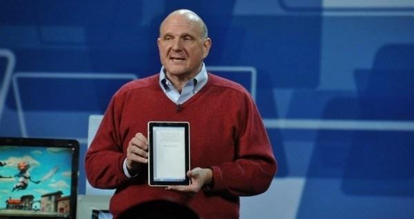 Steve Ballmer (holding HP Slate, CES 2010)