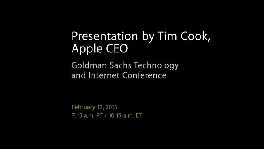 Tim Cook Goldman Sachs 2013 teaser