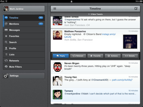 Tweetbot 2.7.3 para iOS (captura de pantalla 001 del iPad)