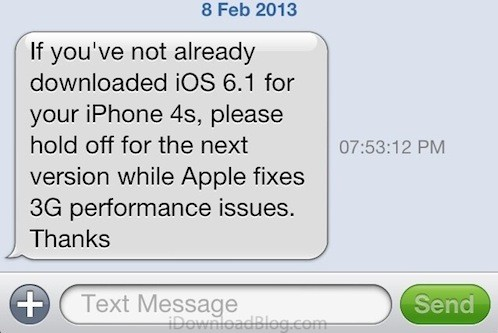 Vodafone UK don't update to iOS 6.1
