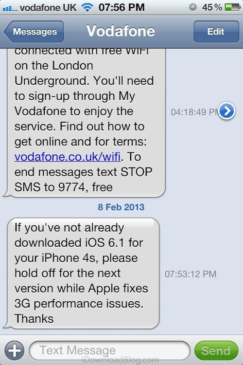 Vodafone UK warns iPhone 4S owners not to upgrade to iOS 6 1