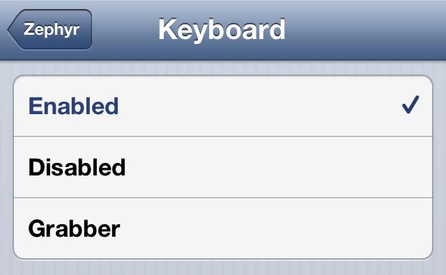 Zephyr 1.6.1 Keyboard