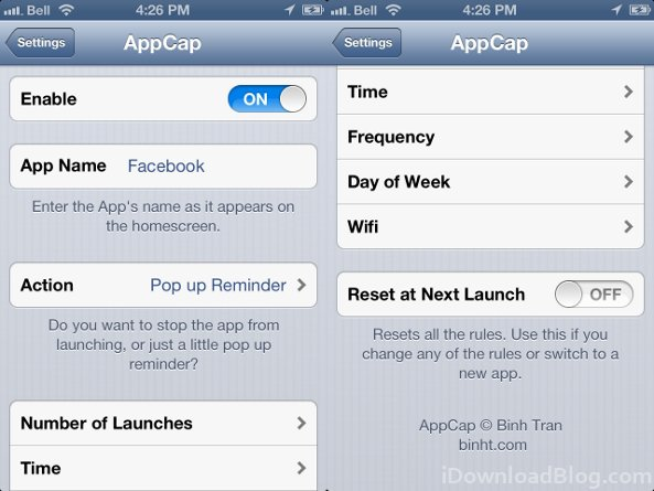 appcap settings