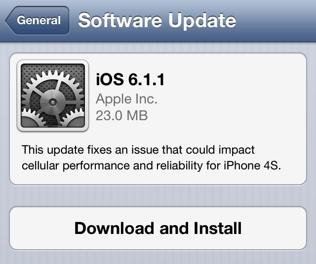 Apple posts ios 6. 1. 1 firmware fixing iphone 4s reliability, 3g issues.