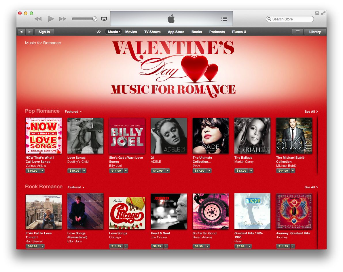 iTunes Store (Music, Valentines Day promo)