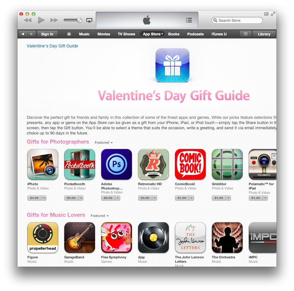 iTunes Valentine Day Guide