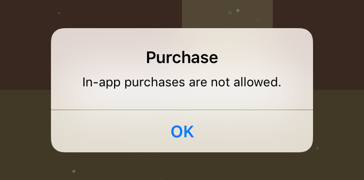 in app purchases not allowed