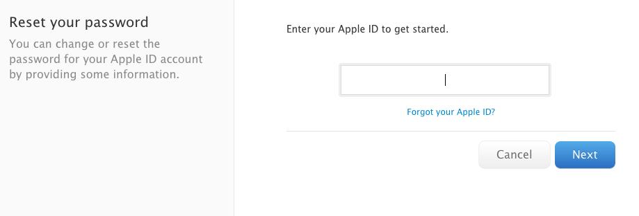 Apple ID (reset password)