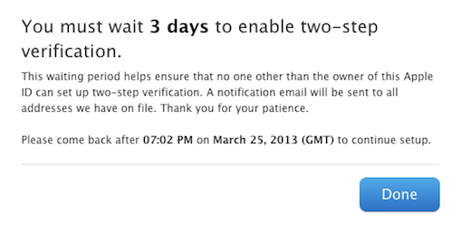 Apple ID (two-step verification, three days wait prompt)