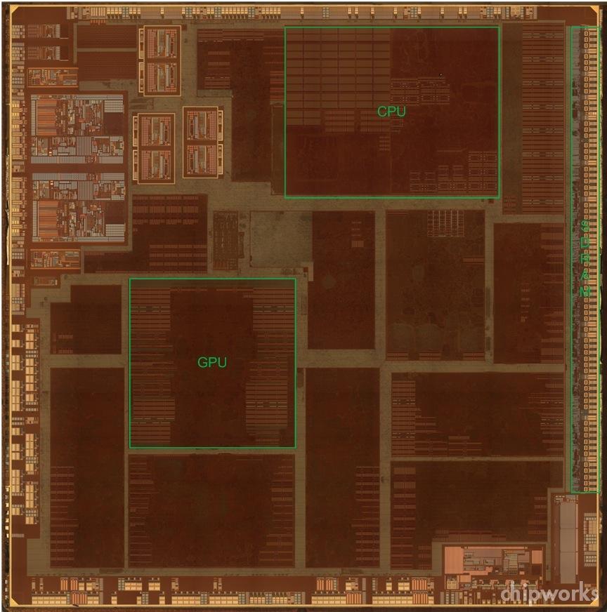 Apple TV single-core A5 (Chipworks floorplan 001)
