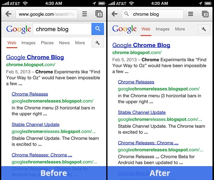 Chrome 25 for iPhone (before and after)